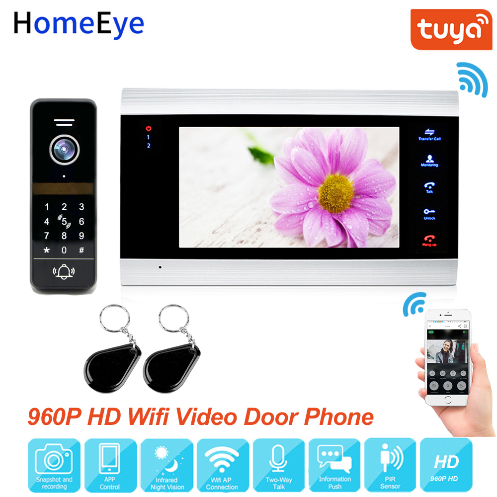Tuya App Remote Control WiFi IP Video Door Phone Video Intercom 960P Home Access Control System Keypad+IC Card Motion Detection