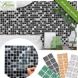 Funlife 10 PCS Flat Mosaic Tile Wall Sticker Waterproof Backsplash For Kitchen,Self Adhesive Bathroom Wall Sticker Decor Fake 3D