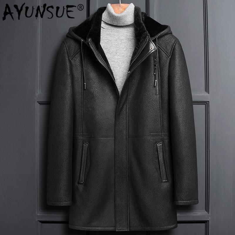 AYUNSUE hiver veste en cuir véritable hommes manteau en peau de mouton vraie fourrure Vintage veste en peau de mouton à capuche épais manteaux LSY1100 KJ3823