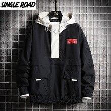 Windbreaker-Coat Hooded-Jacket Japanese-Streetwear Korean-Style Graphic Black Men Hip-Hop