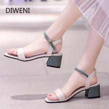 DIWEINI Summer Women Sandals Open Toe shoes Buckle Women's Sandles Square heel Women Shoes Ankle Strap Gladiator Shoes newest women solid pink and black ankle buckle strap strange transparent heel sandal summer peep toe square heel shoes free ship