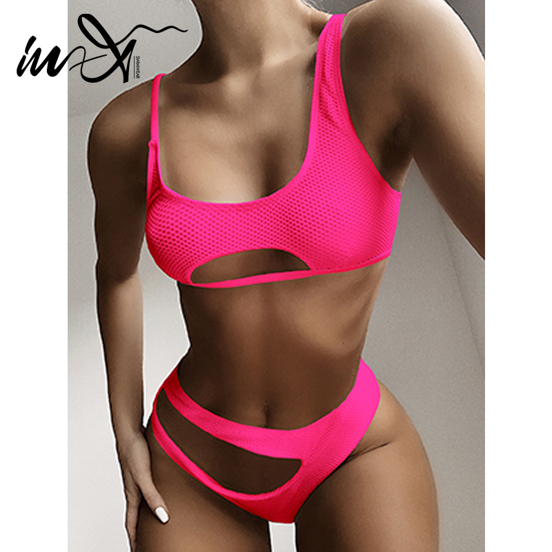 In-X Sexy See Through Bikinis 2020 Mujer Keyhole Swimsuit Female Hollow Out Swimwear Women Pink Bathing Suit Two Piece Suit New