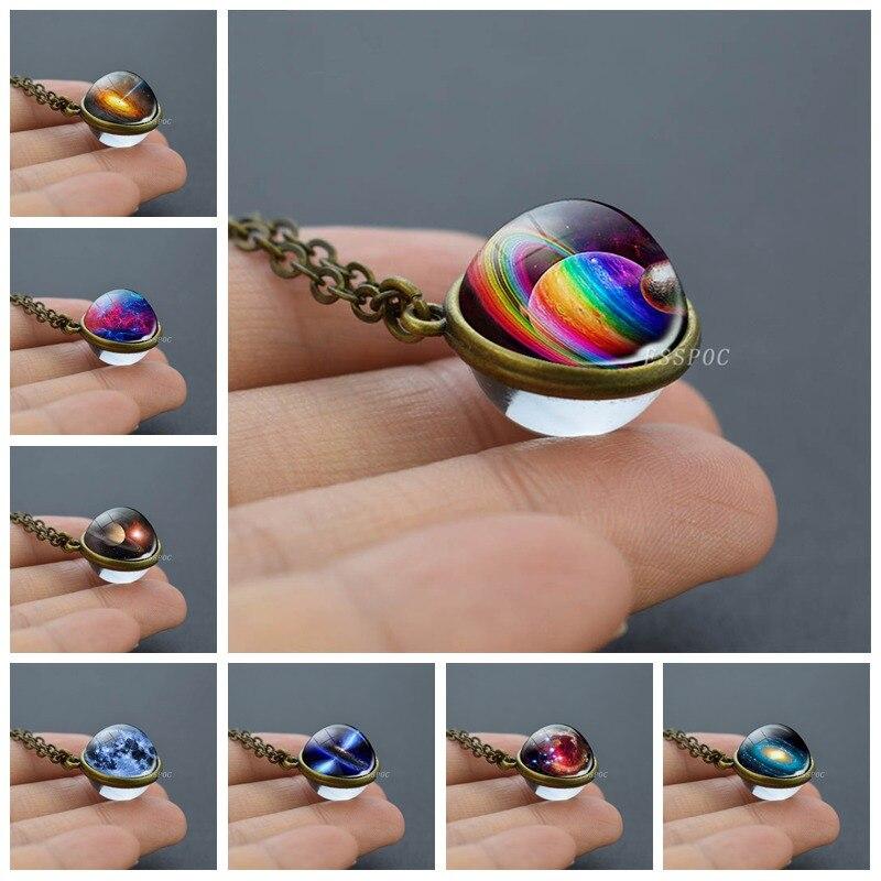 Ожерелье с подвеской в виде стеклянного шара Галактики, двухстороннее ожерелье с изображением планеты Вселенной, эффектное ожерелье ручно...
