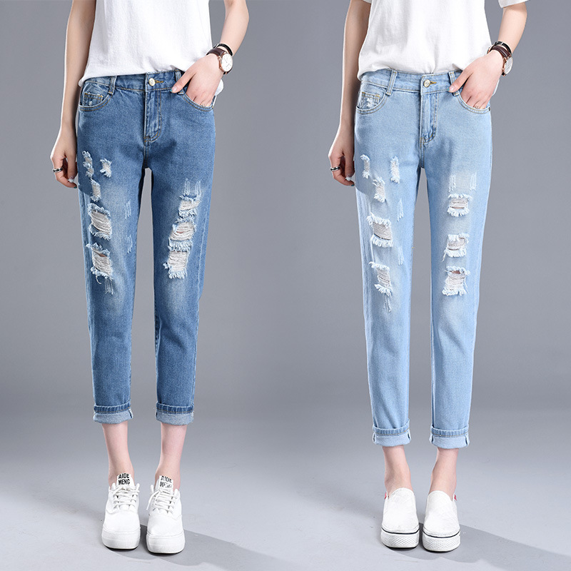 Spring And Summer Thin Elastic Waist With Holes Capri Jeans Women's BF Style Students Loose-Fit Slimming Harem Pants Capri Pants