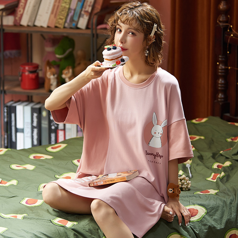 Nightgown Women's Thin Type For Spring And Autumn Full Body Dress Summer Mid-length Short Sleeve 6535 Cotton Large Size Fat Mm W