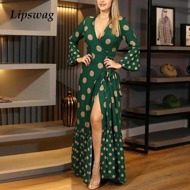 gorgeous long dress with low neckline and knee slit 1