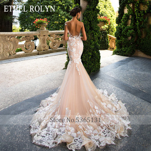 Image 5 - ETHEL ROLYN Sexy Backless Mermaid Wedding Dress 2020 Short 3D Flowers Illusion Appliques Wedding Gowns vestido de novia