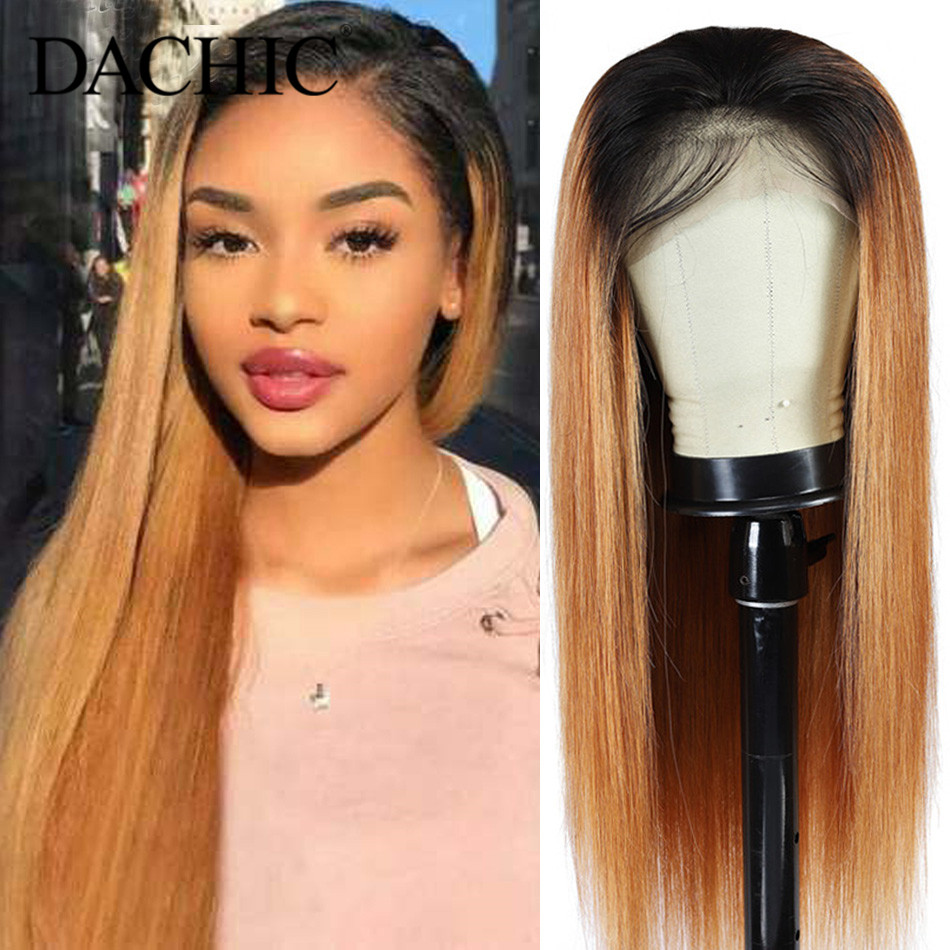 1B/27# Colored Ombre Human Hair Wigs Honey Blonde Lace Front Human Hair Wig Pre Plucked 13x4 150% Brazilian Remy Hair Lace Wig