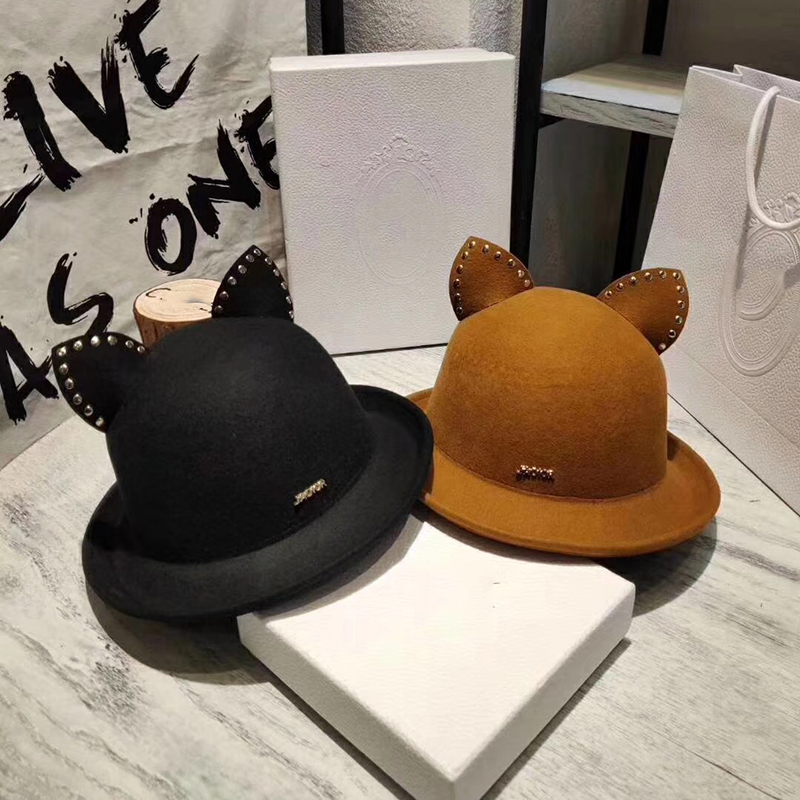 Dôme seau chapeaux femmes mignon chat oreilles automne hiver solide casquette