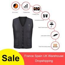 цена USB Infrared Heating Vest Outdoor Sports Jacket Flexible Electric Thermal Clothing Waistcoat For Men Women Winter Hiking онлайн в 2017 году