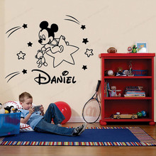 mickey stars wall sticker vinyl personalized custom name wall decal  kids room  wall decor removable wall art mural JH187 mickey stars and moon wall sticker vinyl personalized wall decal custom name kids bedroom removable wall art mural jh181