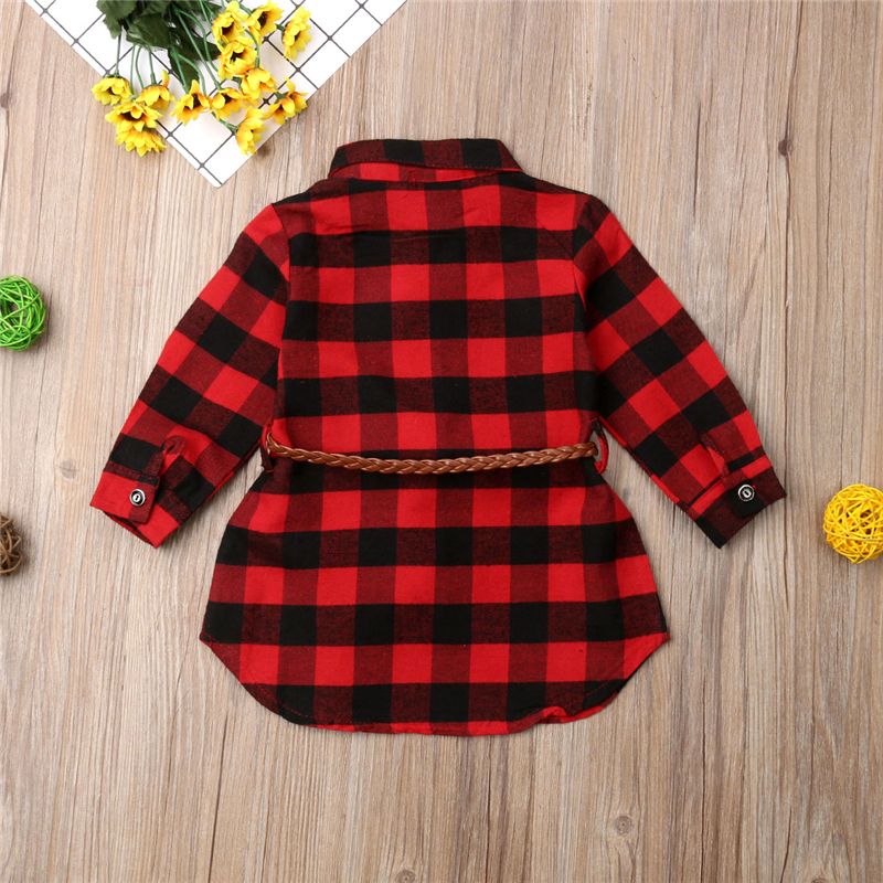 0-5T Christmas Toddler Newborn Kids Baby Girls Dress Red Plaid Cotton Princess Party Long Sleeve Dress Clothes Girl Winter Dress 5