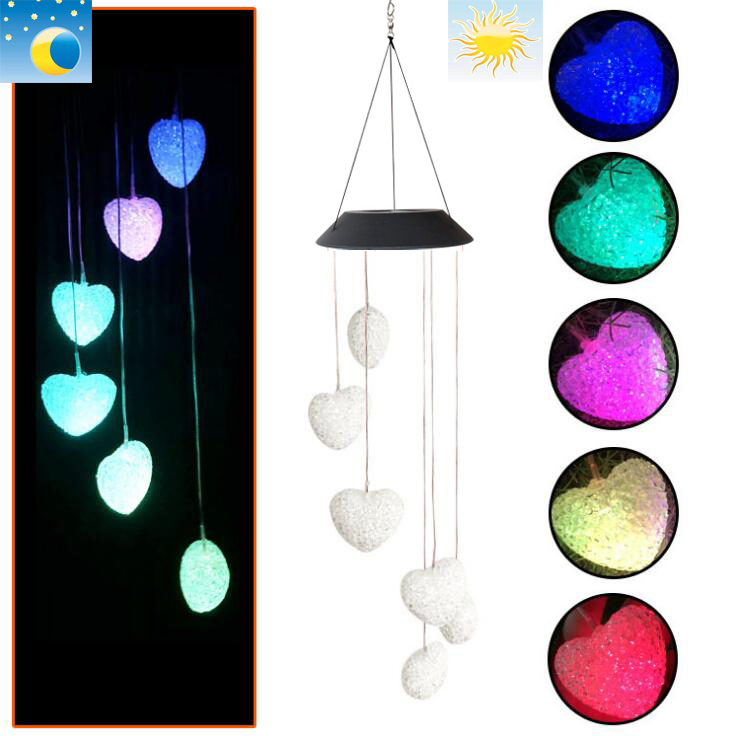 Heart Wind Chimes Outdoor With Color Changing Led Patio Lights Romantic Decor Garden Yard Home Gifts For Mom Wife Grandma Wind Chimes Hanging Decorations Aliexpress