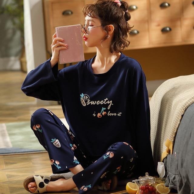 Newest Autumn Winter 100%Cotton Cartoon Womens Long Sleeve Pajamas Set Round Neck Loose Soft Plus Size M 5XL Female Pyjamas