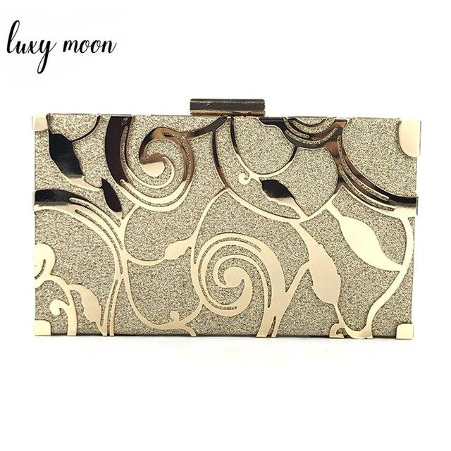 الذهب مخلب محفظة السيدات حقائب اليد النساء الزفاف حقائب كتف حفلات عالية الجودة المعادن الجوف تصميم محفظة مأدبة ZD1233