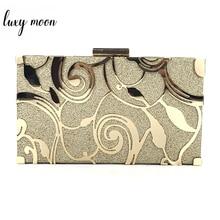 Złota kopertówka torebka damska torebki damskie wesele torby na ramię wysokiej jakości metalowa pusta wzorzysta torebka bankietowa ZD1233