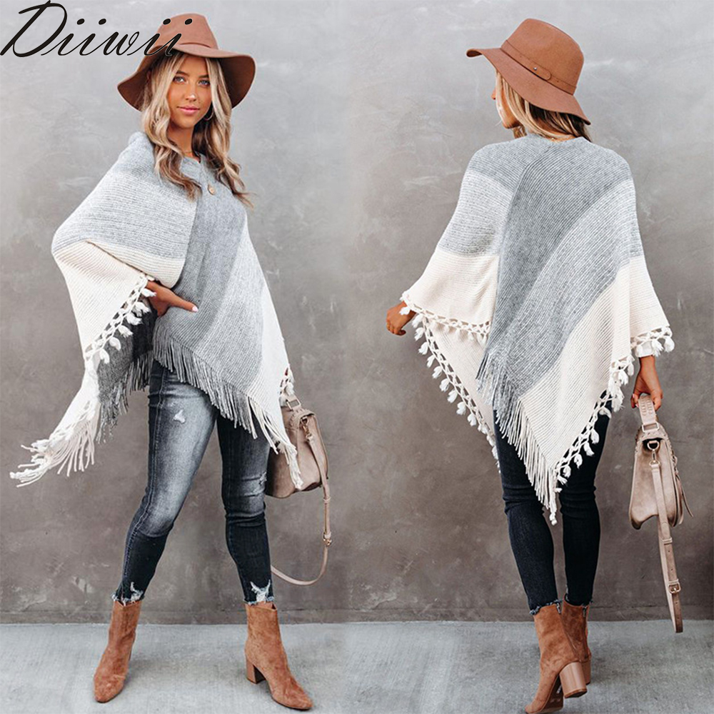 DiiWii Hot Style Womens Fashion Gradient V Neck Loose Fitting Fringed Knit Sweater