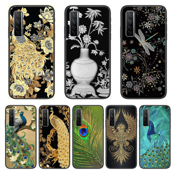Peacock Dragonfly Flower 3D relief Phone Case For Huawei Nova p10 lite 7 6 5 4 3 Pro i p Smart ZBlack Etui 3D Coque Painting H image
