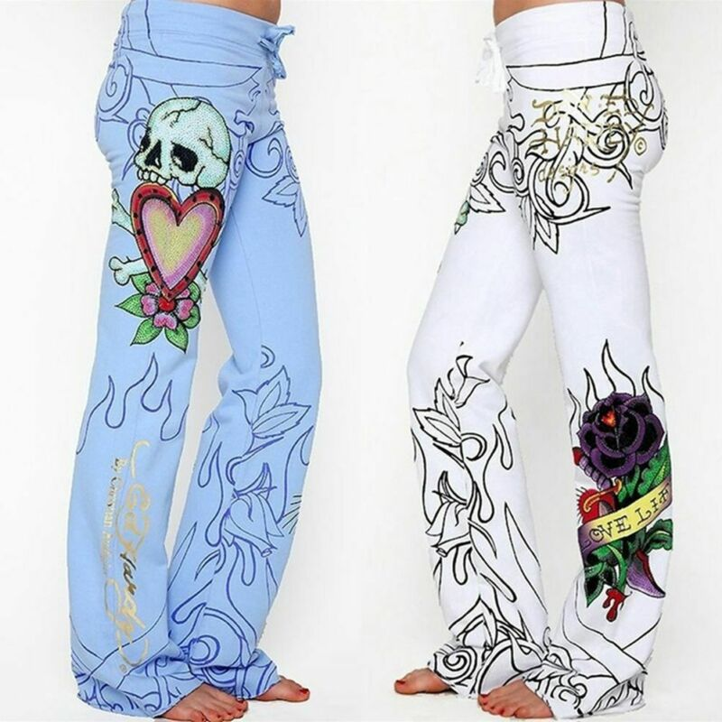 Baggy pants Elegant plus size pants Fashion Women Skull Rose Printed Pants Hippie Wide Leg Boho Trousers ropa mujer