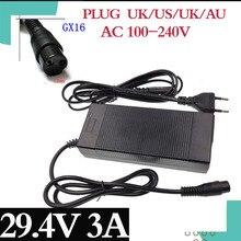 Chargeur de batterie au Lithium rapide 29.4V 3A pour batterie au Lithium 24V Interface de chargeur 3P GX16 AC100 240 vélo livraison gratuite