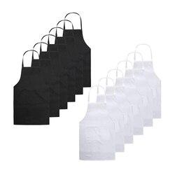 Fartuszki śliniaki dla restauracji unisex czarny fartuch fartuch dla dorosłych z 2 przednia kieszeń na przybory kuchenne grill rysunek czarny + biały w Fartuchy od Dom i ogród na
