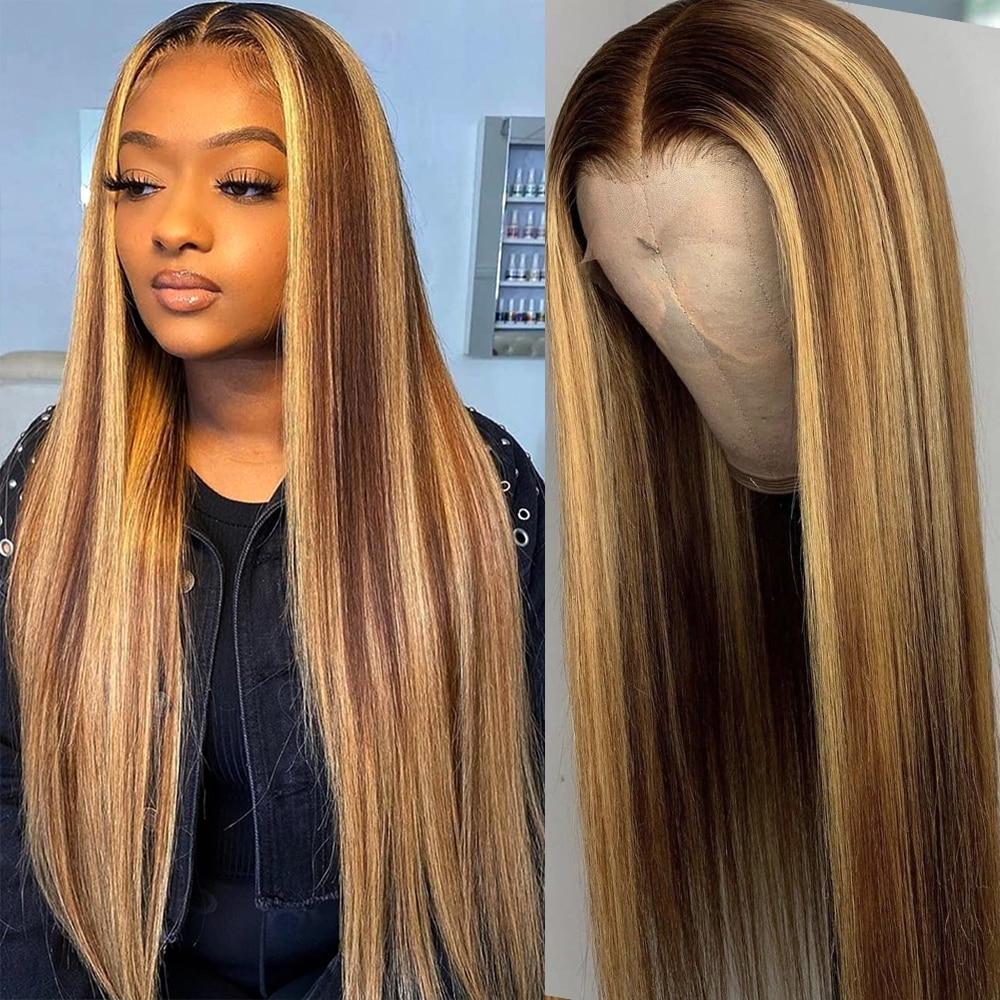 Mettre en évidence perruque cheveux humains dentelle perruques Ombre droite 28 30 pouces perruque miel blond 13x1 Hd pleine mise en évidence dentelle avant perruques de cheveux humains