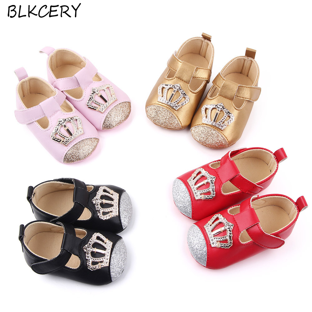 Newborn Baby Girl Shoe Soft Sole Leather Crib Shoes Anti-slip Princess Prewalker Baby Summer Shoes Kids First Walkers With Crown