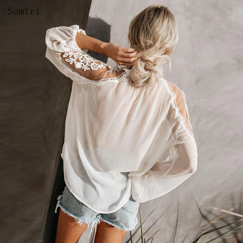 Semfri Lace Blouse Women Sexy Perspective Top 2020 Spring Summer Loose Style Shirt Female Solid Color Puff Sleeve Blouses