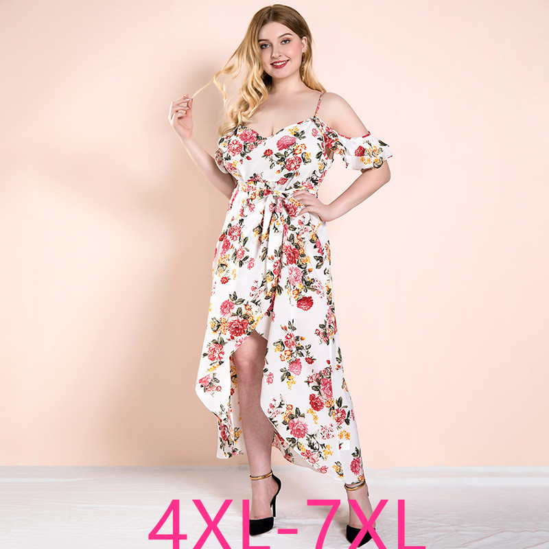 Female summer plus size long <font><b>dress</b></font> for women large strapless loose casual halter <font><b>sexy</b></font> flower <font><b>dresses</b></font> belt white 4XL 5XL <font><b>6XL</b></font> 7XL image