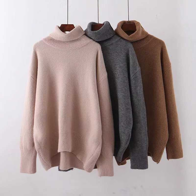 ZA autumn winter women's pullover turtleneck solid knitted sweater women Casual knit sweater jumper female tops woman clothes