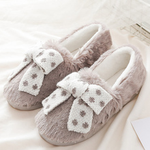 Women's slippers home Winter TPR Light Butterfly Knot Short plush Warm Cute slippers Soft Cozy Non slip Indoor shoes mntrerm 2018 cute mouse animal prints home comfortable indoor home practical plush non slip fleeces warm slippers women