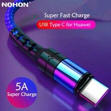 Nohon 1m 2m usb tipo c cabo 5a super carga cabo para huawei p40 p30 pro para iphone cabo de dados micro cabo de fio de carregamento rápido