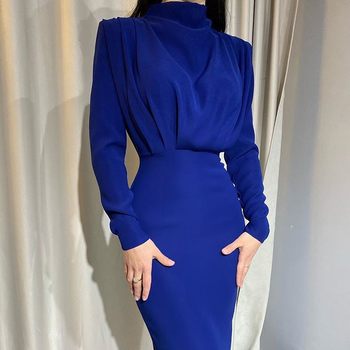 InstaHot Elegant Women Dress Stand Collar Slim Waist Solid Blue Ankle Length Autumn Long Sleeve Casual Party Dress 2020 Fashion 2