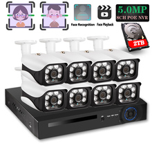 H.265+ 8CH 5MP POE Hi3516E300 NVR Face record&Playback Kit CCTV Security System 5MP IR POE IP Camera P2P Video Surveillance Set