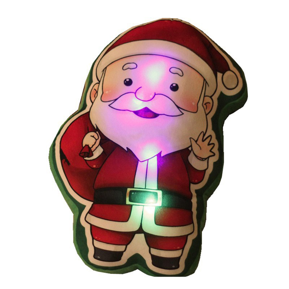 1PCS Christmas decoration 3D Light Up LED Sing A Christmas Song Colorful Glowing Luminous Plush Santa Claus Stuffed Doll Toys image