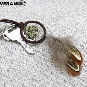 Image 3 - לוכד חלומות רכב קישוטי תליית אביזרי תליון מפתח טבעת לתפוס חלום נטו מפתח שרשרת רטרו הרי נוצה