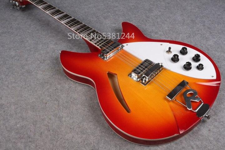 Transport gratuit de guitare électrique, 6 cordes 12 cordes coucher de soleil guitare, unique f-hole, accessoires en argent