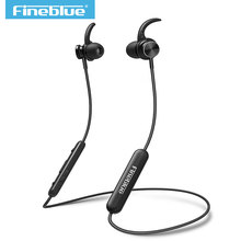 цена на Mate 10 magnetic wireless FineBlue bluetooth 4.1 headset neckband sport headphone stereo bass earphone earbuds with Microphone