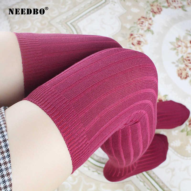 สูงเข่าถุงเท้าถักต้นขาสูงถุงน่อง Plus ขนาดกว่าผ้าฝ้ายผู้หญิงเข่าถุงเท้ายาวเซ็กซี่ถุงน่องผู้หญิงถุงน่องสีดำ