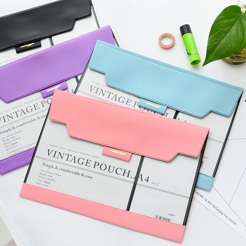 Simple Transparent Paper Folders For Documents Multifunctional PVC File Bag A4 Portable Candy Color Filing Products Office