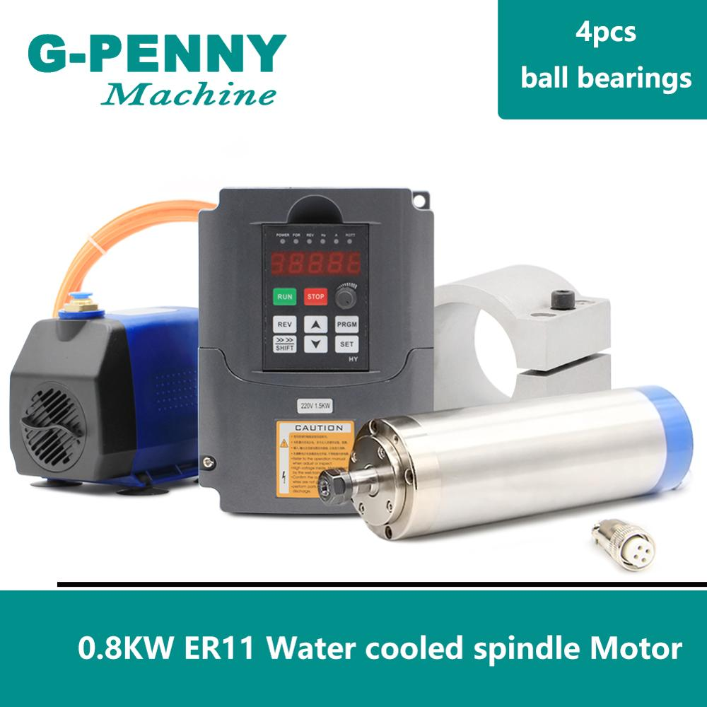 220V 800W Refrigeração a Água CNC Motor Spindle 65 ER11 milímetros Trabalhar Madeira Do Eixo & 1.5kw VFD & 65mm suporte & 75w bomba de água