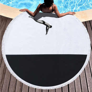 Swimming Pool Party Beach Towel Cool Boy Super Absorbent Microfiber Large Size Towel Round Blanket with Tassel