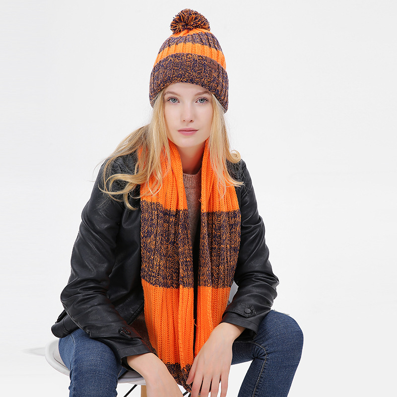 Hot Sale Winter Hat And Scarf Set For Women Classic Thicken Wool Kitted Hats And Scarves Winter Warm Bonnet Beanie Caps Warm