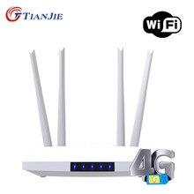 Roteador de wifi 300m cat4 32 usuários de wifi 2 rj45 wan lan interno 4g roteadores wi-fi com slot para cartão sim tianjie lm321 4g lte cpe sim cartão