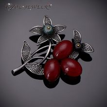 IYOE Latest Style Vintage Metal Bouquet Brooch Safety Pins Antique Silver Color Red Stone Fashion Brooches For Women Jewelry(China)