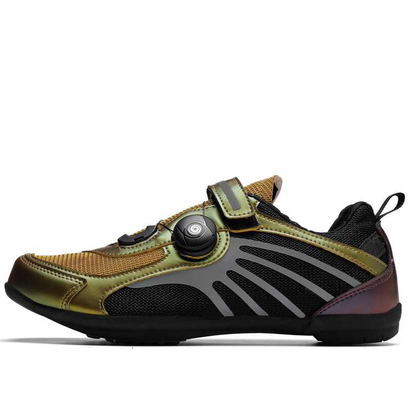 Spring and summer breathable couple rotating lace reflective color outdoor cycling shoes non-slip sports bicycle shoes