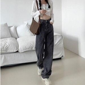 Женские джинсы с высокой талией, джинсовая одежда с широкими штанинами, синяя уличная одежда, винтажные Качественные прямые брюки в стиле Х...