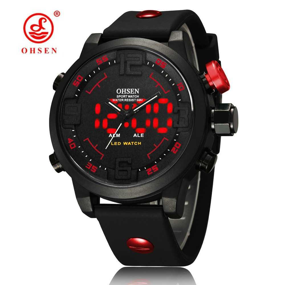 OHSEN di Modo di Sport Esterno Della Vigilanza Degli Uomini di Multi funzione 5 Bar Impermeabile Militare Red Digital Orologi Da Polso Orologio Relogio Masculino