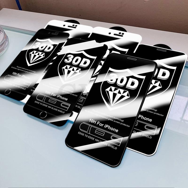 Vetro temperato 30D Full Cover acceso per iphone 11 12 PRO MAX proteggi schermo vetro protettivo per iphone 11 12 X XR XS MAX vetro 2