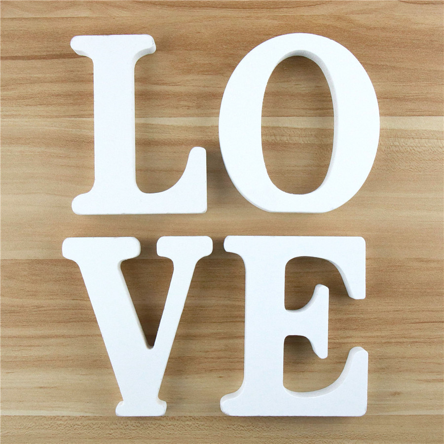 1pc 10cm Wooden Letters Alphabet Name Design Art Crafts White Letter Party Birthday Standing DIY Word Home Decor 3.94 Inches